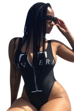 Womens Deep V-neck Printed Zipper Backless One Piece Swimsuit Black