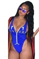 Womens Deep V-neck Printed Zipper Backless One Piece Swimsuit Sapphire Blue