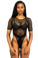 Womens Sexy Zipper Fishnet Hollow Out Back One Piece Swimsuit Black