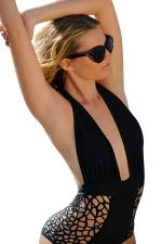 Womens Sexy Halter Deep V-neck Backless Cut Out Monokini Black