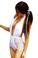 Womens Sexy Halter Deep V-neck Backless Cut Out Monokini Black