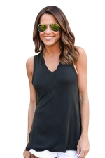 Womens V-neck High Low Sides Slit Plain Hooded Tank Top Black