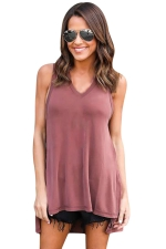 Womens V-neck High Low Sides Slit Plain Hooded Tank Top Pink
