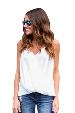 Womens Cross Wrapped High Low Irregular Hem Camisole Top White