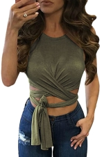 Womens Cross Lace Up Plain Sleeveless Crop Top Army Green