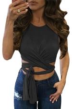Womens Cross Lace Up Plain Sleeveless Crop Top Black