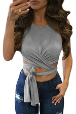 Womens Cross Lace Up Plain Sleeveless Crop Top Gray
