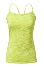 Womens Spaghetti Straps Slimming Cut Out Camisole Top Yellow