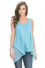 Womens High Low Patchwork Plain Sleeveless Tank Top Blue