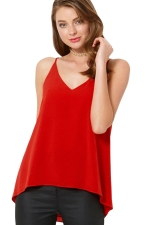 Womens Sexy Plain Strips Chiffon Camisole Top Red