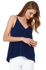 Womens Sexy Plain Strips Chiffon Camisole Top Navy Blue