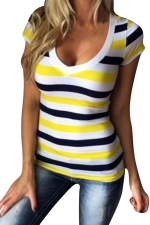 Womens V Neck Striped Short Sleeve Pullover T Shirt Yellow