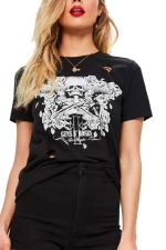 Womens Round Neck Ripped Skull Printed Short Sleeve T Shirt Black