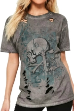 Womens Round Neck Ripped Skull Printed Short Sleeve T Shirt Green
