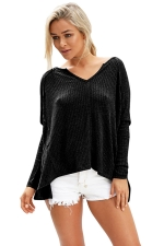 Womens V Neck Slit Back Long Sleeve Plain T Shirt Black