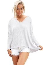 Womens V Neck Slit Back Long Sleeve Plain T Shirt White