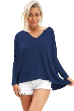 Womens V Neck Slit Back Long Sleeve Plain T Shirt Navy Blue