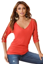 Womens V Neck Cross Cut Out Half Sleeve Plain T Shirt Orange