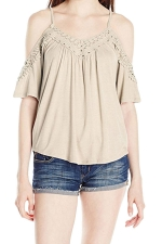Womens Cold Shoulder Hollow Out Plain Camisole Top Beige