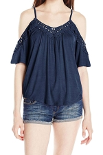 Womens Cold Shoulder Hollow Out Plain Camisole Top Navy Blue