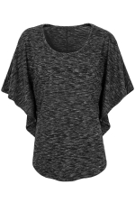 Womens Round Neck Short Batwing Sleeve T Shirt Black