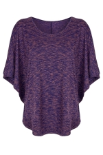 Womens Round Neck Short Batwing Sleeve T Shirt Purple