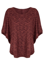 Womens Round Neck Short Batwing Sleeve T Shirt Red