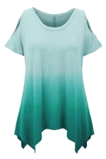 Womens Gradient Color Cold Shoulder Short Sleeve T Shirt Green