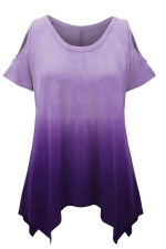 Womens Gradient Color Cold Shoulder Short Sleeve T Shirt Purple