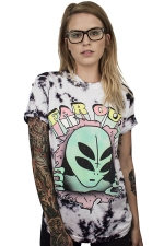 Womens Crew Neck Short Sleeve Alien Printed T-shirt White