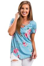 Womens Crisscross Neck Super Soft Floral T-Shirt Blue