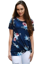 Womens Crew Neck Floral Short Sleeve T-shirt Navy Blue