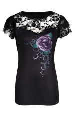 Womens Plus Size Lace Patchwork Short Sleeve Printed T-shirt Black