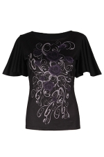 Womens Batwing Sleeve Plus Size Dragon Printed T-shirt Black