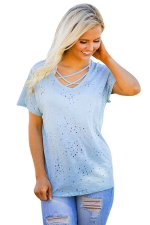 Womens Cross String Short Sleeve Holey Casual T-shirt Blue