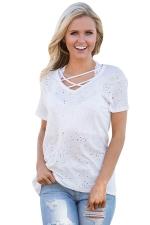 Womens Cross String Short Sleeve Holey Casual T-shirt White