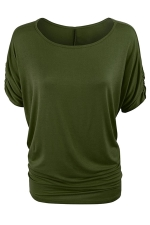 Womens Plain Crew Neck Batwing Short Sleeve T-shirt Green