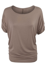 Womens Plain Crew Neck Batwing Short Sleeve T-shirt Khaki