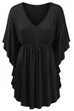Womens V-neck Ruffle Sleeve Draw String Long Shirt Black