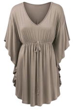 Womens V-neck Ruffle Sleeve Draw String Long Shirt Khaki