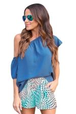 Womens Sexy One Shoulder Elastic Plain Blouse Blue