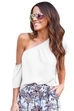Womens Sexy One Shoulder Elastic Plain Blouse White
