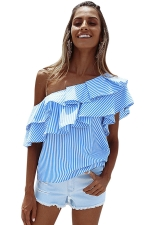 Womens Sexy Layered Ruffle One Shoulder Stripes Blouse Light Blue
