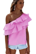 Womens Sexy Layered Ruffle One Shoulder Stripes Blouse Rose Red