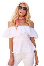 Womens Sexy Ruffle Off Shoulder Tunic Plain Blouse White