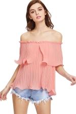 Womens Sexy Off Shoulder Cascading Ruffle Chiffon Blouse Pink