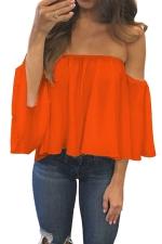 Womens Sexy Off Shoulder Chiffon Blouse Orange
