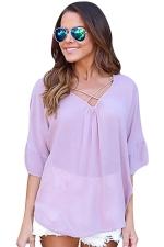 Womens Sexy Crosse Strings V-Neck Open Back Blouse Light Purple