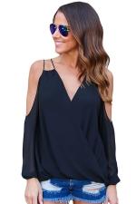 Womens Sexy Cold Shoulder V Neck Wrap Front Breezy Blouse Black