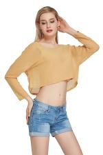 Womens Sexy Plain Chiffon Long Sleeve Crop Blouse Khaki